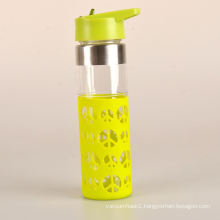colorful easy carry child glass water bottle with silicone sleeve